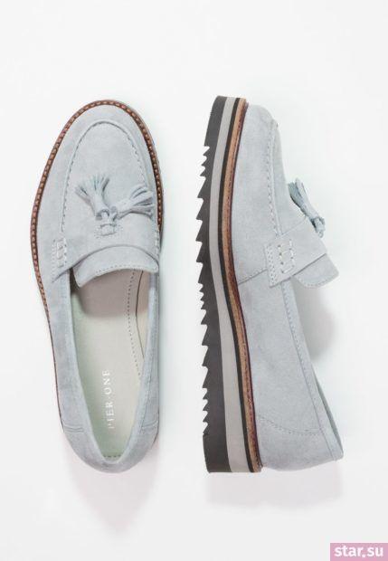 голубая обувь без каблука