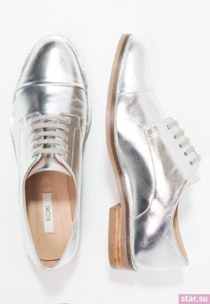 серебряная обувь без каблука