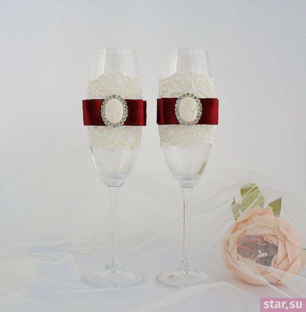 Бокалы на свадьбу цвета марсала