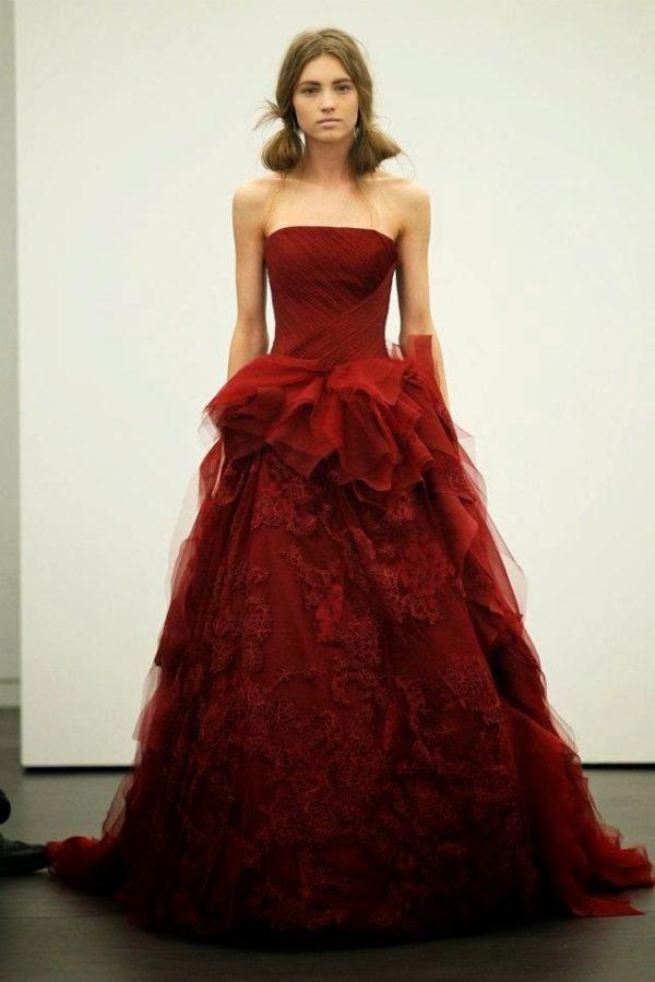свадебное платье в цвете марсала