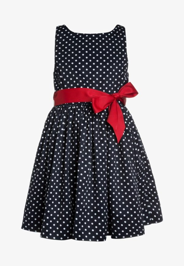 Детская мода 2018-2019: черное в горох платье для девочки