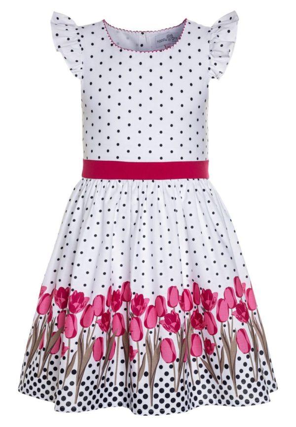 Детская мода 2018-2019: белое в цветок платье для девочки
