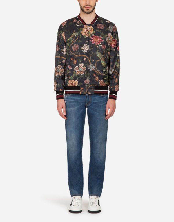 Мужская мода весна лето 2020: черная куртка с принтом цветы