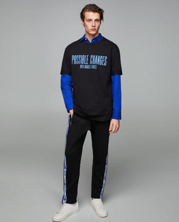черная футболка под синюю рубашку