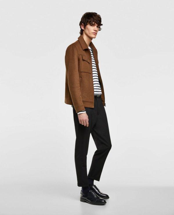коричневая куртка под черные штаны