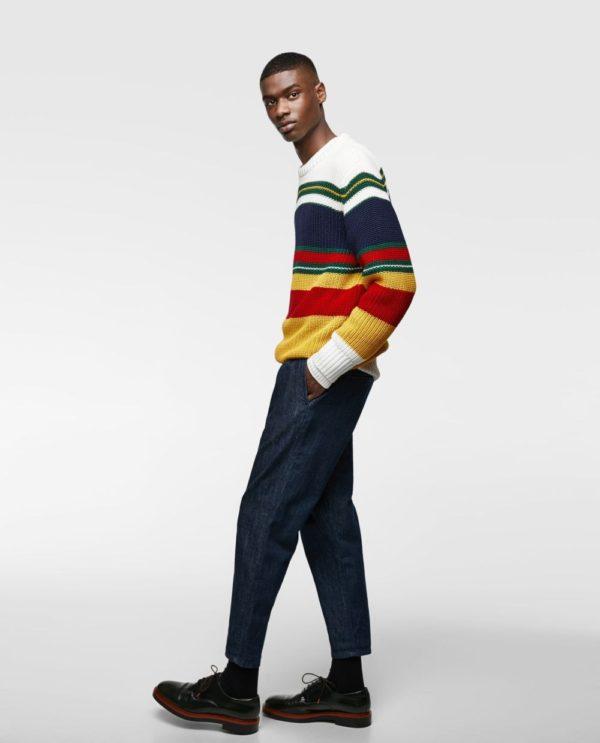кофта полосатая под джинсы